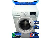 8kg Drum, Hoover Washing Machine, 1400 Spin, Fast Wash, Factory Refurbished inc 6 Months Warranty