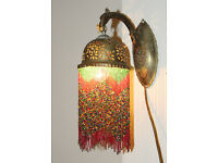 2 Syrian brass and glass beaded hanging lamps