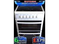 Ceramic Hob, Double Oven, Beko All White, Fan Assisted, Fully Reconditioned inc 6 Months Warranty
