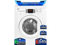Large LCD, Beko Washing Machine, 8kg Drum, 1400 Spin, Factory Refurbished inc 6 Months Warranty