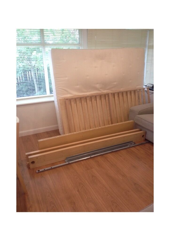 King size ikea malm bed frame birch veneer and mattress for Ikea malm collection