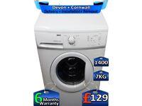 1400 Spin, Zanussi Washing Machine, Fast Wash, 7kg Drum, Factory Refurbished inc 6 Months Warranty