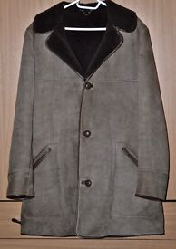 Men's vintage 70's Oakleaf brown suede leather, sheepskin lined coat