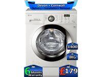 LG Washing Machine, Inverter, 8kg Drum, 1400 Spin, Factory Refurbished inc 6 Months Warranty
