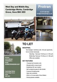Two commercial workshops to rent in Hove, B2 rating, Cambridge Grove, Hove BN3 3ED