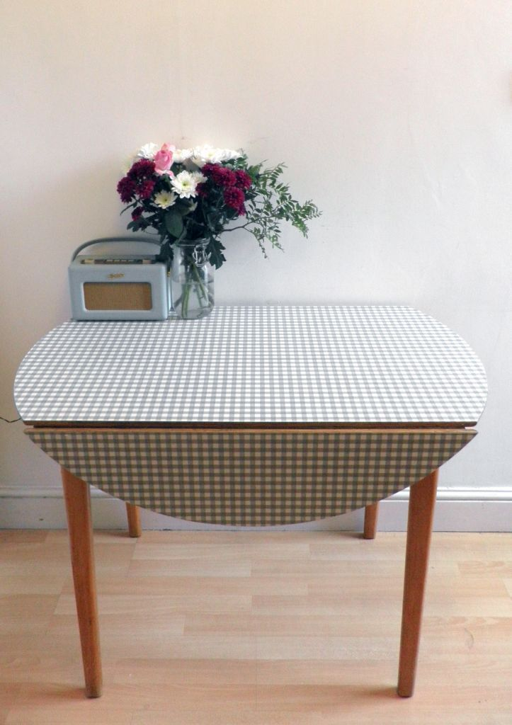 1950s carl jacobs kandya beech and grey checked formica table