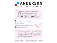 Social Media | Graphic Design | Print management - Glasgow based company -