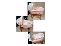 3 Lovely Moses Baskets with Stand or Rocker Mamas & Papas or Mothercare REDUCED!