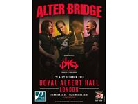 3 Alter Bridge Grand Tier Tickets - Royal Albert Hall - 3rd October 2017