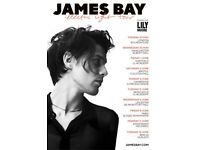 4x James Bay standing tickets, Roundhouse Camden London, Tuesday 29th May 2018