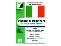 Italian for Beginners class starting at Monmouth Community Hub this September 2016