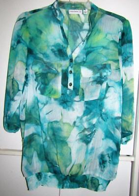 Susan Graver QVC Aqua Print Sheer Chiffon Pullover 3 Button Top Size Small 6 / 8