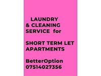 LAUNDRY SERVICE & CLEANING FOR SHORT TERM LET APARTMENTS. 7DAYS a WEEK.