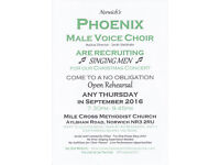 Norwich Male Voice Choir Recruiting September 2016 - Man? Can hold a Tune? Free Thursdays 7.30pm?