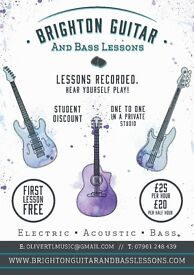 Guitar and Bass lessons in Brighton area. FIRST LESSON FREE