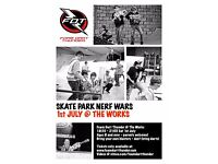 Nerf War in a Skate Park! Foam Dart Thunder At The Works Skatepark in Leeds!