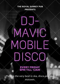 dj-mavic playing at the royal surrey pub morden