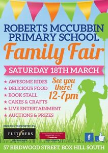 Roberts McCubbin primary school Family Fair Box Hill South Whitehorse Area Preview