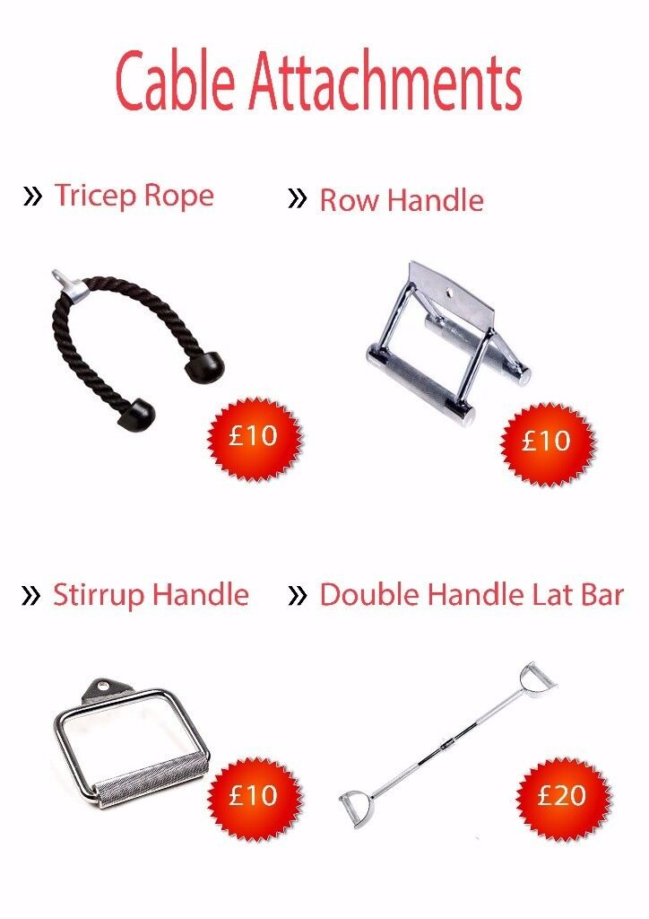 Brand New Cable Attachments - Tricep Rope , Row Handle, Stirrup Handle, Lat Row Bar