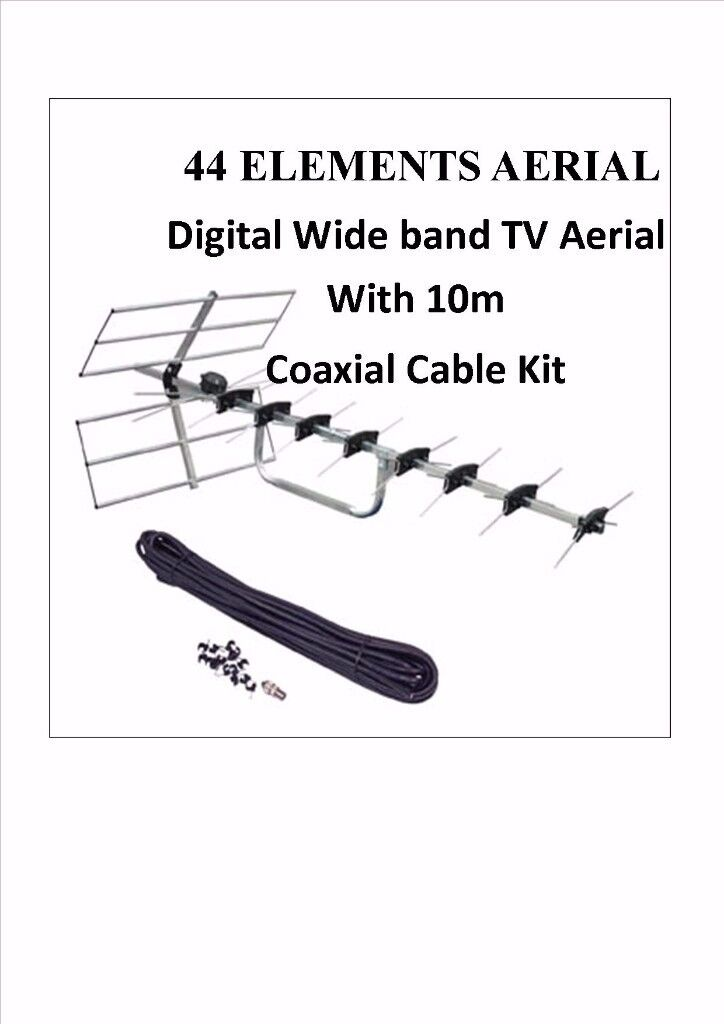 AERIAL 44 Elements Digital Wide band TV Aerial With 10m Cable Kit WALL BRACKET sky free sat pc NEW