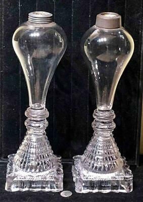 Pair Antique Sandwich Glass Blown Font Whale Oil Lamps, Pressed Square Base