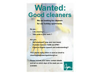 Cleaners needed for holiday apartments, self-employed & flexible hours