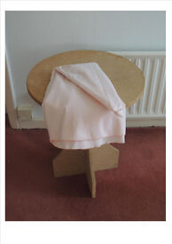 Round Side Table with Light Pink Round Table Cloth