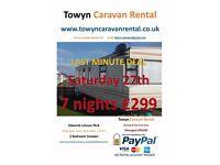 LAST MINUTE DEAL - Towyn 2 Bedroom 27th August - 7 nights £299