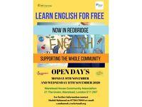 LEARN ENGLISH FREE- OPEN DAYS IN REDBRIDGE