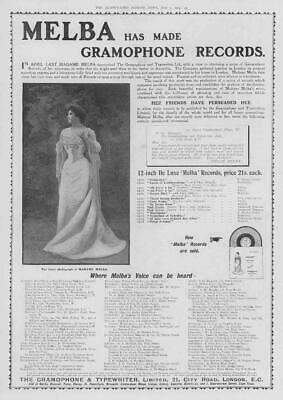 1904 Antique ADVERTISING Print - MELBA Gramophone Recorders Madame Melba (121)