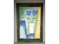 Picture painting oil on canvas stretched on frame Two blue flowers 3ft x 2ft unknown artist
