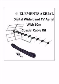 AERIAL 44 Elements Digital Wide band TV Aerial With 10m Cable Kit sky free sat pc iphone new