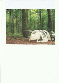 Tent to fit onto the side of van or camper van. The Bivouac Car tunnel tent is made by Triango.