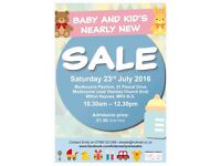 Baby and Kid's Nearly New Sale Sat 23rd July 2016 at Medbourne Pavilion, Milton Keynes