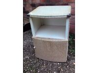 Vintage Lloyd Loom Style Bedside Table/Bathroom Cupboard with Glass