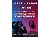4x Krept & Konan standing tickets, O2 Kentish Town Forum London, Thursday 22nd March 2018