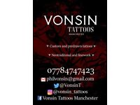 Tattoos-Vonsin tattoos, neotraditional, linework, black and grey.