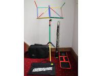 Clarinet Beginer's Starter Kit - Clarinet, music stand and music case.