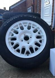 """Genuine BBS wheels 15"""" 4x100 recent refurb and new tyres!"""