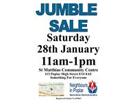 Giant Jumble Sale Saturday 28th January Poplar E14 11am