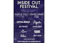 2 x VIP tickets to Inside Out Festival - Cardiff - 30th Sept 2017