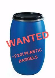 WANTED 15 x 220l plastic barrels / drums / butts, to collect near Gloucester