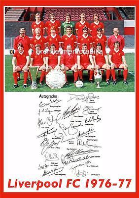 LIVERPOOL FC 1976-1977 BOB PAISLEY KEVIN KEEGAN & EMLYN HUGHES SIGNED (PRINTED)