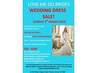 WEDDING SALE EXTRAVAGANZA DAY 4th MARCH GOWNS £150-£600 MAIDS FROM £30 SHOES & ACCESSORIES FROM £10