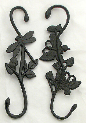 Patio Plant Hangers ( Cast Iron  Butterfly & Dragonfly Plant  Hangers Brown Indoor and Patio  Decor)