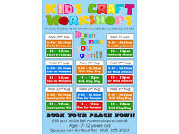 Summer Holiday Kids Craft Workshops