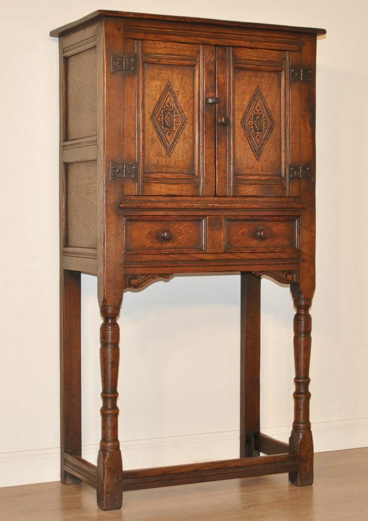 Attractive Tall Vintage Carved Oak Cocktail Cabinet Bar
