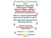 Charity quiz night barnham broom 2nd june