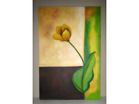 Picture painting oil on canvas stretched on frame Yellow Flower 3ft x 2ft unknown artist
