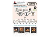 Saltfire ST1 Vision / ST2 woodburner and flue package deal.